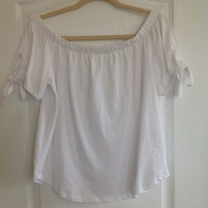 H&M Off the Shoulder Sleeve White Top - Size S